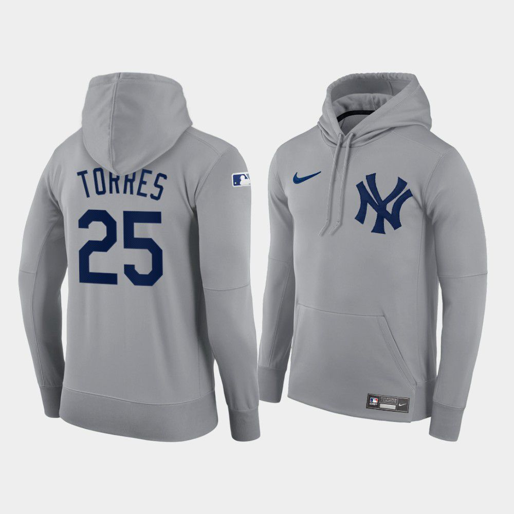 Cheap Men New York Yankees 25 Torres gray hoodie 2021 MLB Nike Jerseys